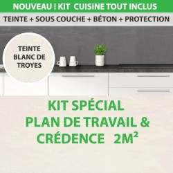 Kit Essentiel béton ciré cuisine plan de travail et crédence 2m²