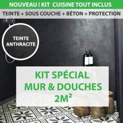 Kit Essentiel béton ciré cuisine douche et mur 2m²