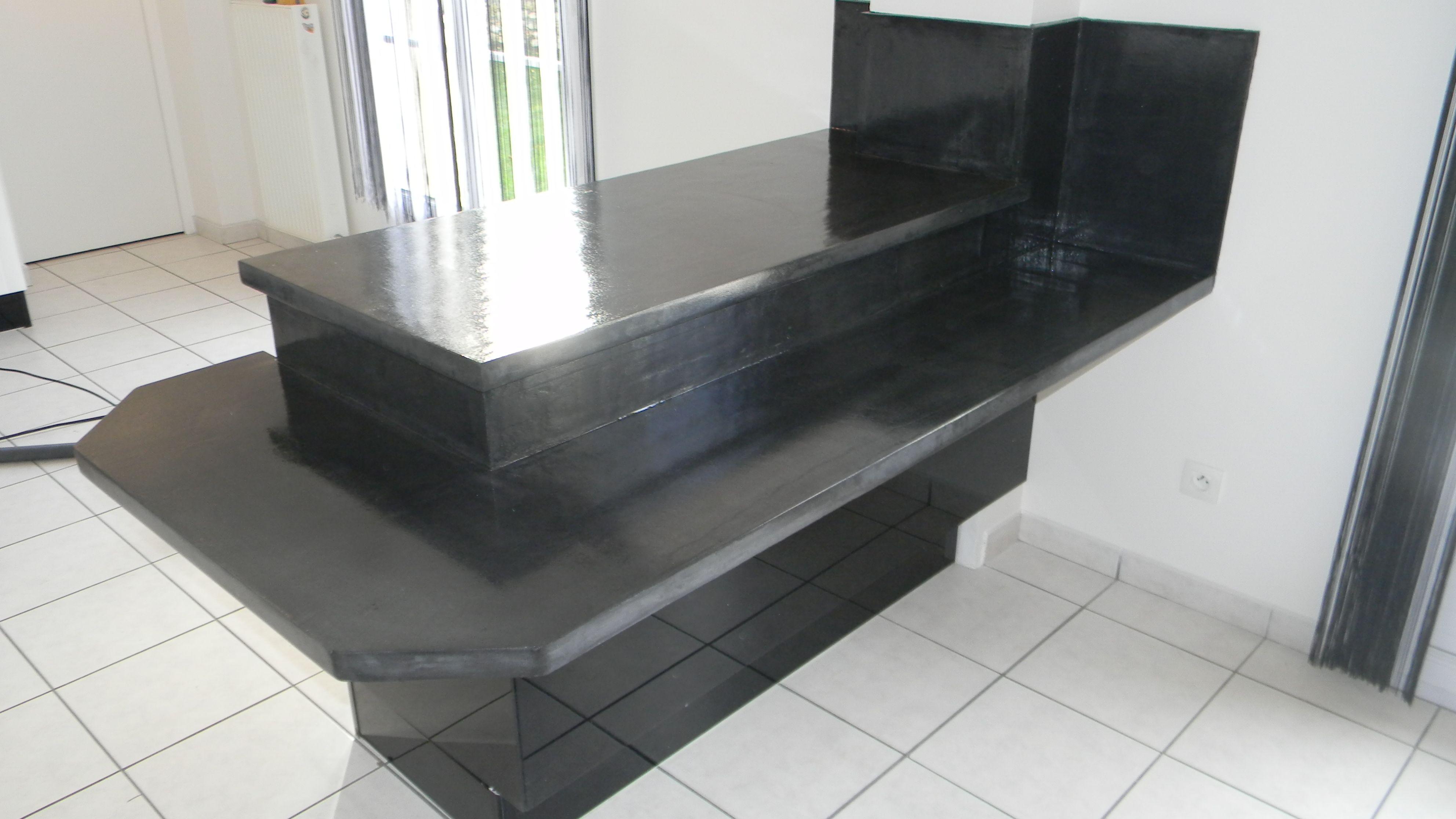 Comptoir bar beton cire