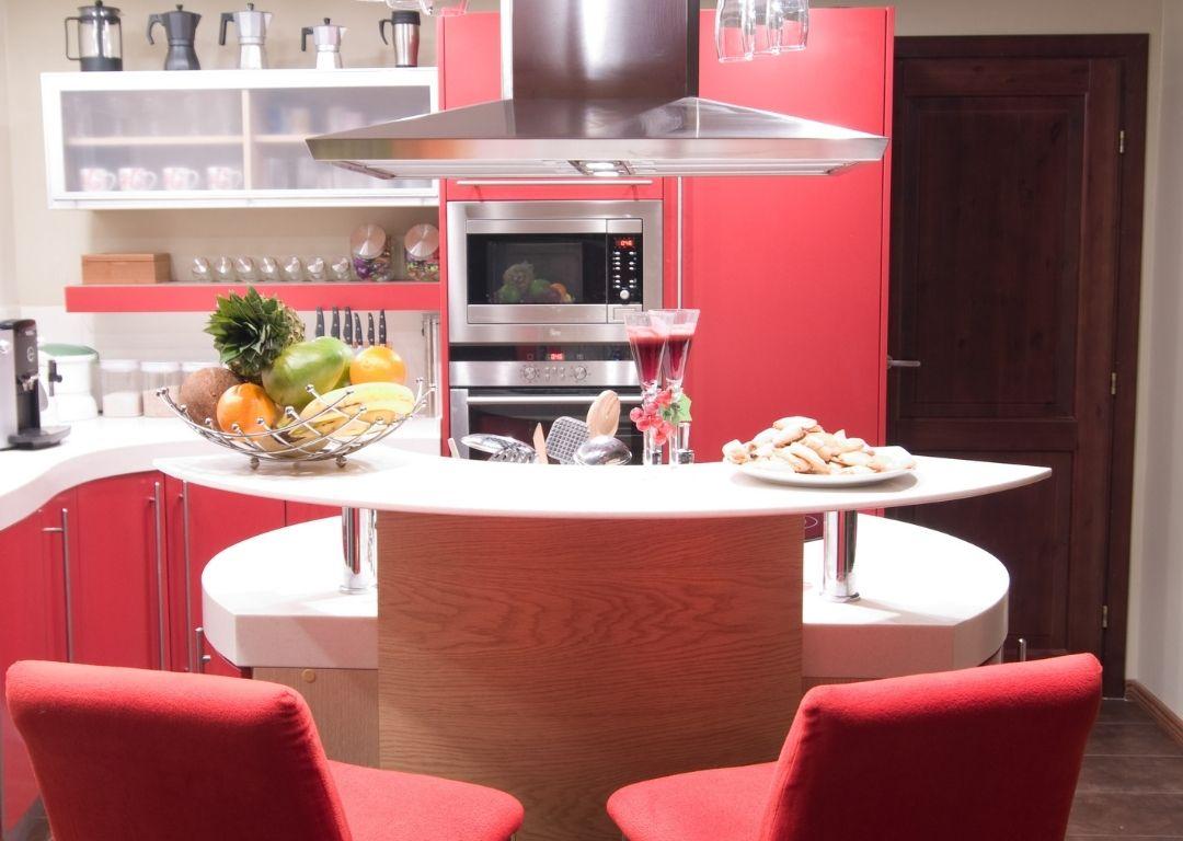 cuisine bois clair rouge