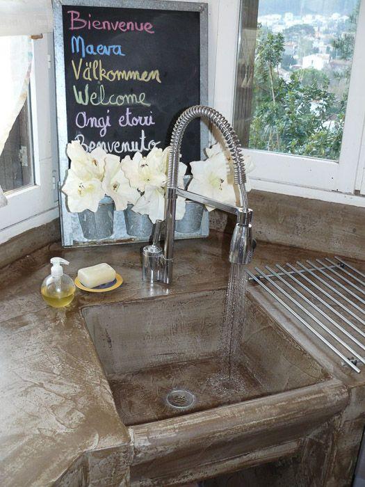 évier et lavabo béton ciré gris brut