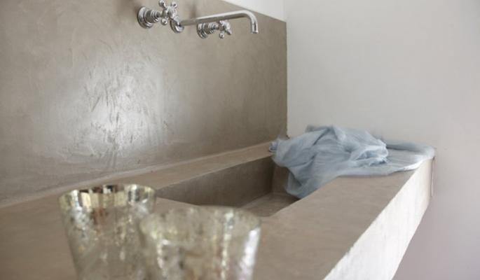 béton ciré évier et lavabo